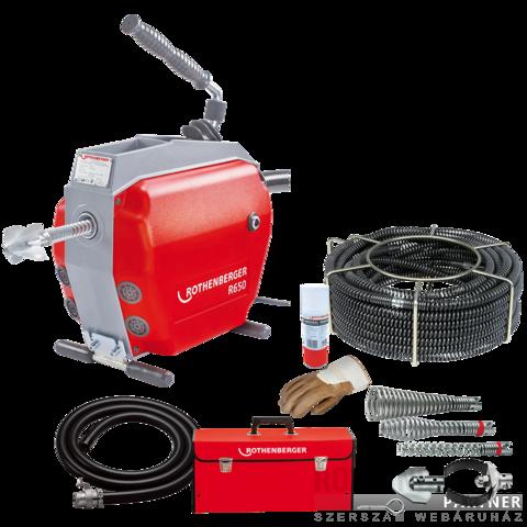 Rothenberger R650 duguláselhárító gép + 22mm-es spirálkészlet és szerszámkészlet