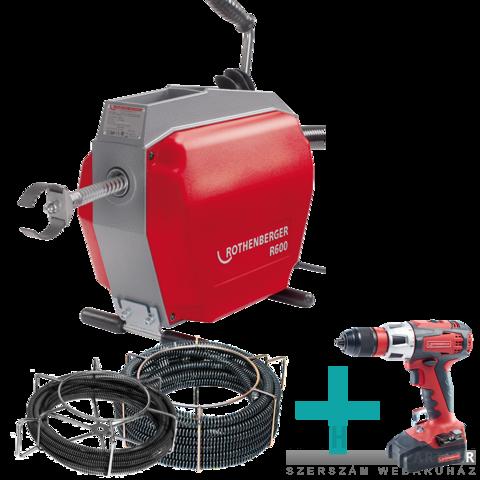 Rothenberger R600 16, 22mm duguláselhárító gép + ROSPI 8H E PLUS kézi duguláselhárító + RO DD60 csavarbehajtó