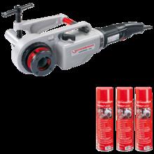 """Rothenberger Supertronic 2000 elektromos menetmetsző készlet 1/2""""-2"""" + Ronol SYN menetvágó olaj spray 600 ml"""